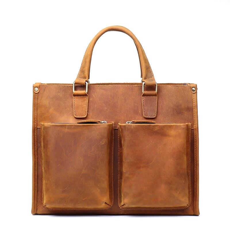 Высокая класс Натуральный Crazy Horse кожаная сумка для мужчин отличное качество Винтаж желтый коричневый пояса из натуральной кожи портфели