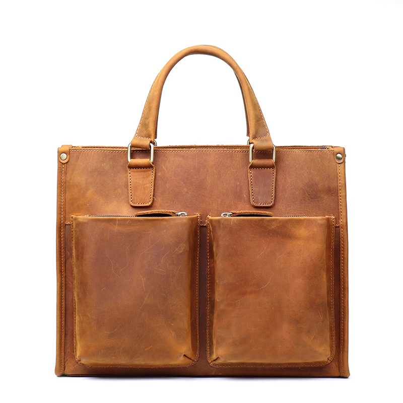 High Grade Natural Crazy Horse Leather Men Handbag Excellent Quality Vintage Yellow Brown Genuine Leather Briefcase