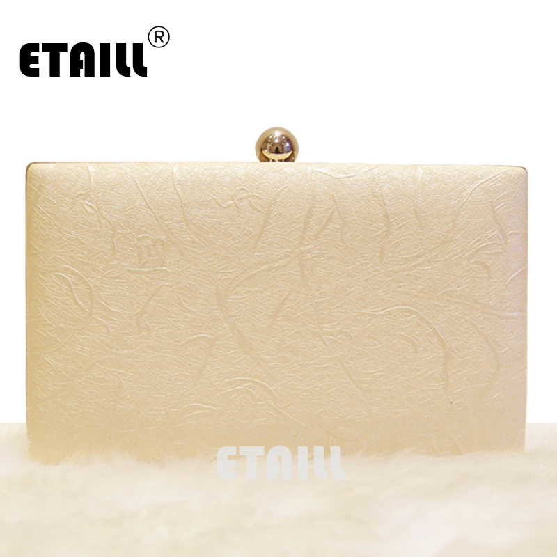 ETAILL 2017 New Luxury European And American Women Box Clutch Bag Simple Style Evening Bag Fashion Shoulder Envelope For Wedding simple style solid colour and zip design shoulder bag for women