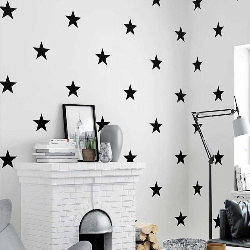 Us 21 35 28 Off Black White Stars Wallpaper For Kids Room Modern Children Bedroom Living Study Background Home Decor Wall Paper Rolls In