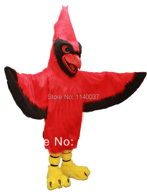 mascot Long Hair Plush Material Red Parrot Cardinal Mascot Costume Adult Size Birds Outfit Suit Fancy Dress Stage Props