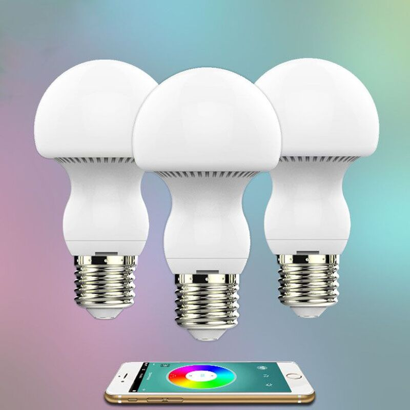 Smart Dimmable Mushroom Led bulb Household intelligent lighting  RGB E27  600LM AC85-265V     Switchable for IOS and Android smart dimmable mushroom led bulb household intelligent lighting rgb e27 600lm ac85 265v switchable for ios and android