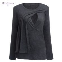 100 Real Sample Plus Size Pregnancy Autumn Spring 3 4 Sleeves Maternity Clothes Breastfeeding T shirt