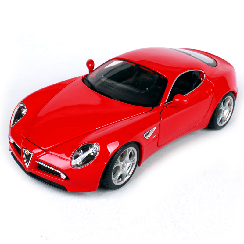 Bburago 1 18 alfa romeo 2007 8c competizione red yellow car diecast 230 110 57mm open