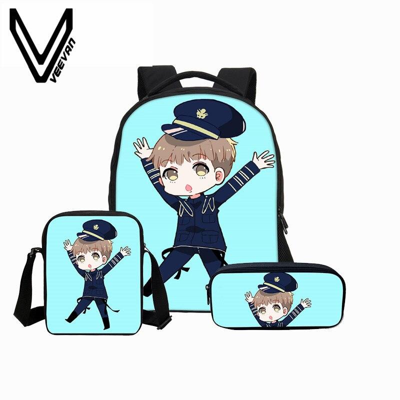 VEEVANV 2018 Bag 9 Colors bts Anime Printing 3D Portfolio Case Cover Childrens School Book Backpack For Teenage Girls Cavas Kid