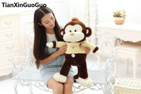 Large 65cm Cartoon Brown Monkey Plush Toy With Yellow Cloth Soft Throw Pillow Birthday Gift H2980