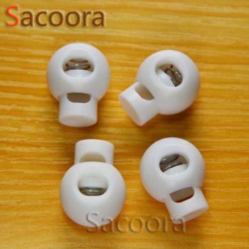 1000pcs/pack  Cord Lock Round Ball Toggle Stopper Plastic  Toggle Clip White Widely For Bag Backpack/Clothing Free Shipping
