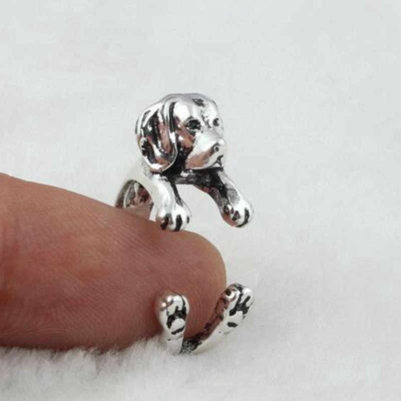 Dropping Shipping Punk Vintage 3D Labrador Retriever Puppy Animal Wrap Dog Ring Antique Silver Plated Rings