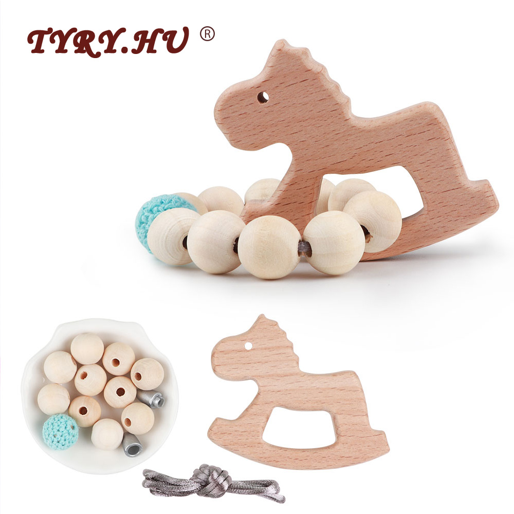 TYRY.HU Natural Wooden Baby Teether Beads DIY Set For DIY Baby Teething Nursing Necklace Pendant Toy  Cartoon Beech Teether Toys