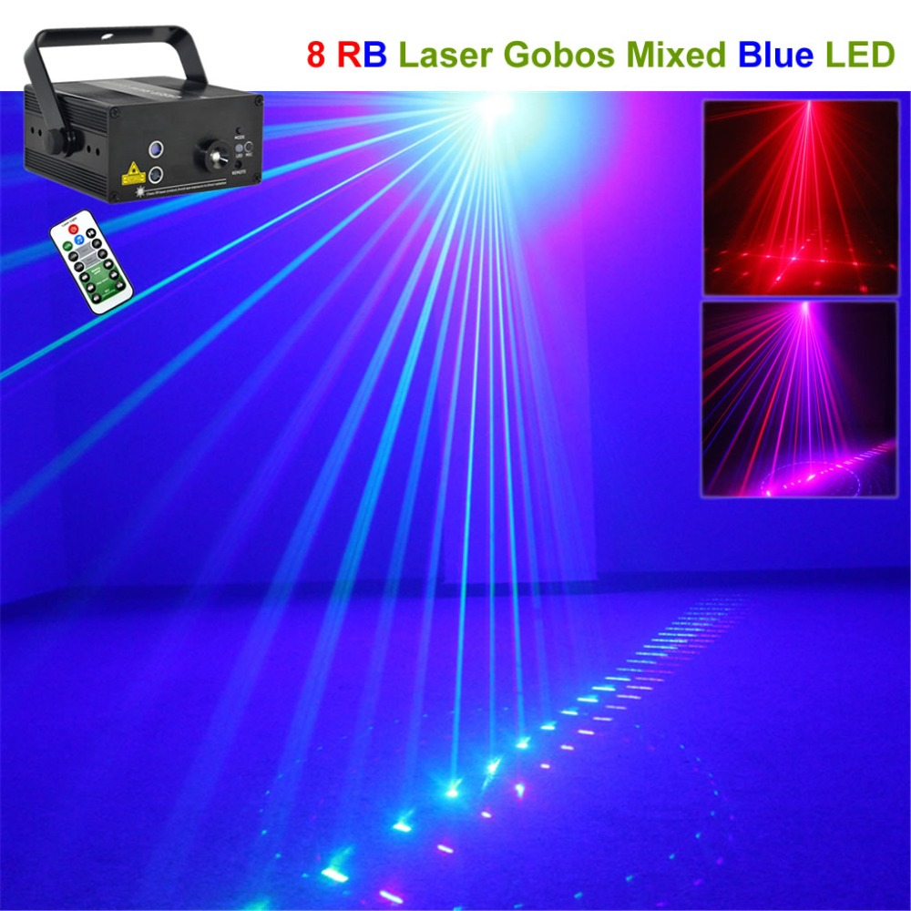 цена на Mini 8 Patterns Red Blue Laser Projector Stage Lights 3W Blue LED Mixing Effect Lamp DJ Home Party KTV Laser Show Lighting 08RB