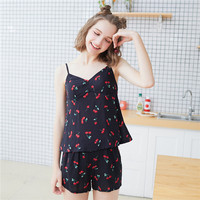 New Product Cherry Printing Camisole Shorts 2 Paper Set Furnishing Serve Ma Am Sexy Leisure Time