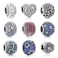AAA Rõ Ràng CZ Bạc Hạt Fit Gốc Pandora Charms Vòng Tay Vòng Cổ 925 Sterling Silver Bead Phụ Nữ Jewelry DIY Làm