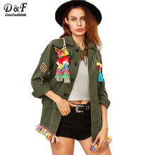 Dotfashion Women Olive Green Tribal Back Tassel Embellished Utility Lapel Long Sleeve Single Breasted Pockets Jacket