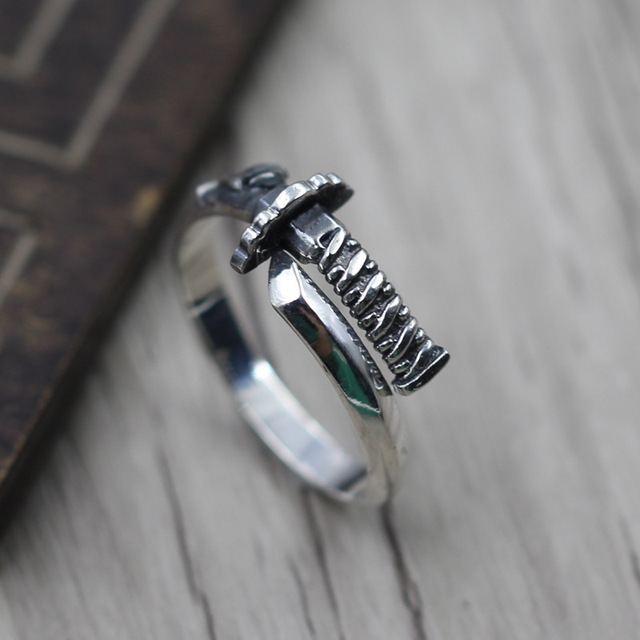 Thai Silver Bayonet Open Ring Japanese Samurai Sword 925 Sterling Jewelry