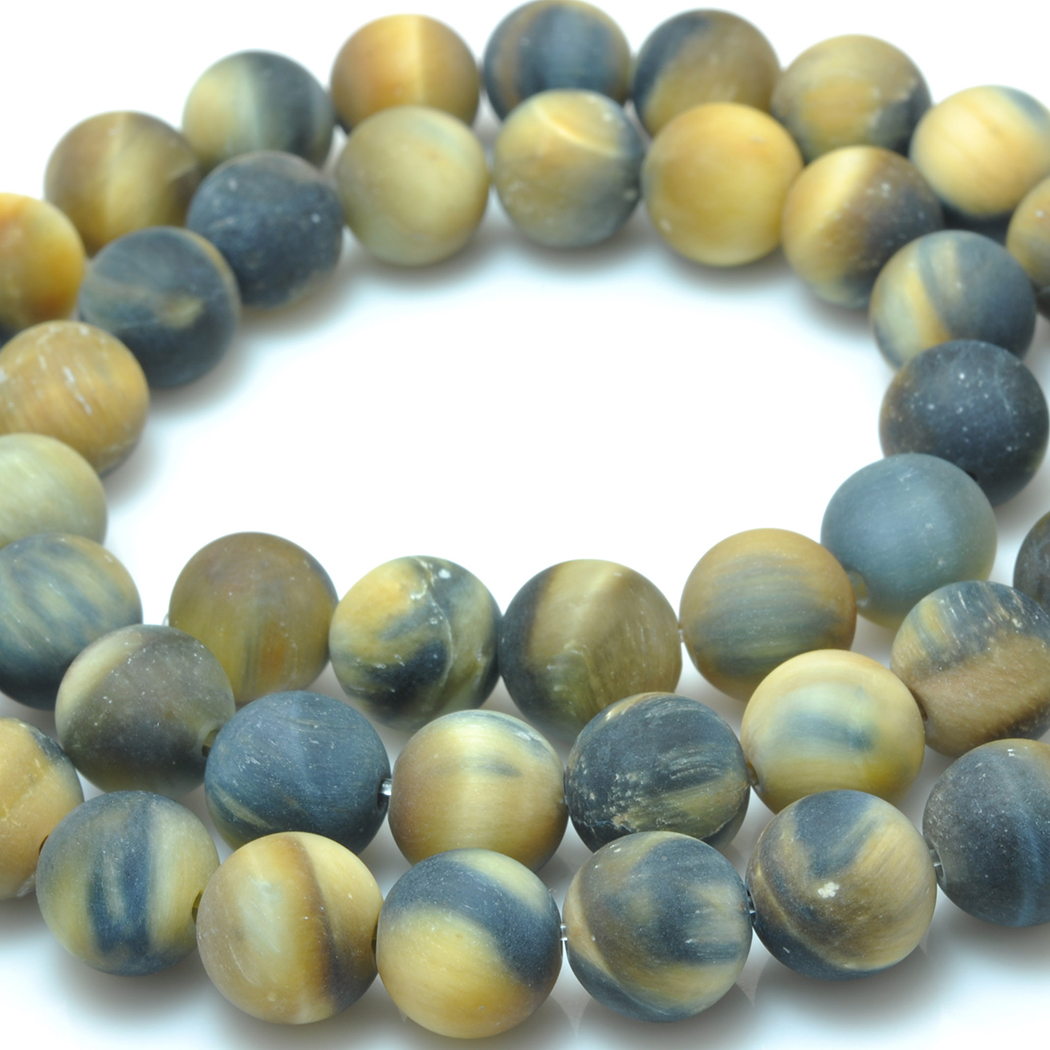 ICNWAY natural tiger-eye gemstone round dull polish loose beads DIY bracelet necklace earrings making jewelry craft 15inch