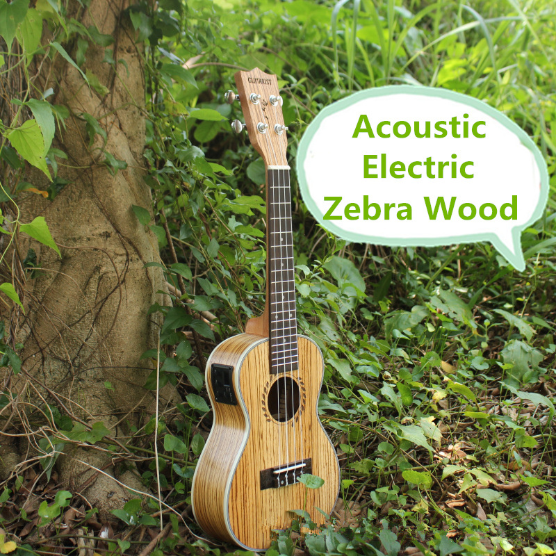 Concert Acoustic Electric Ukulele 23 Inch High Quality Guitar 4 Strings Ukelele Guitarra Handcraft Wood Zebra Plug-in Uke Tuner high quality solid wood guitar 41 inch spruce wood panel acoustic guitar guitarra free shipping