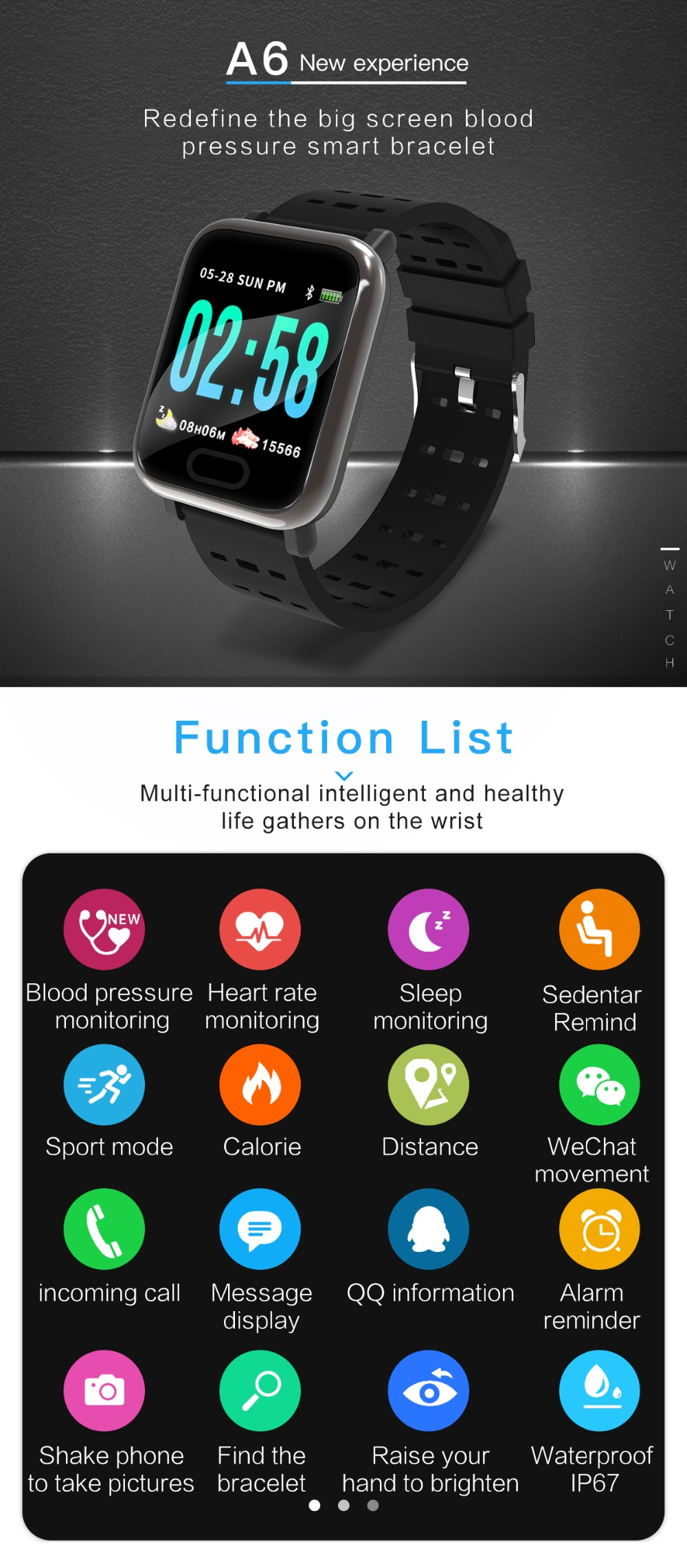 Wearpai bluetooth kids smart watch sport A6 fitness tracker men women heart rate Monitor watches for ios android waterproof ip67 5