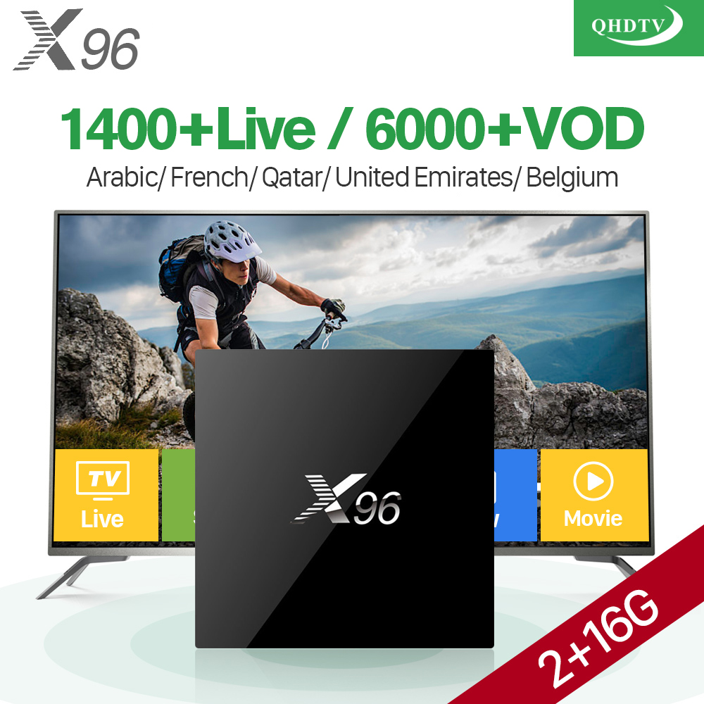 X96 TV Box Android 6.0 Arabic French IPTV Box 1 Year QHDTV Code Subscription 1400 Channels Belgium Dutch Europe Africa IPTV Box best hd 1 year arabic europe french iptv italy belgium 1300 live channels av cable for tv box android 7 1 smart tv box s912 box