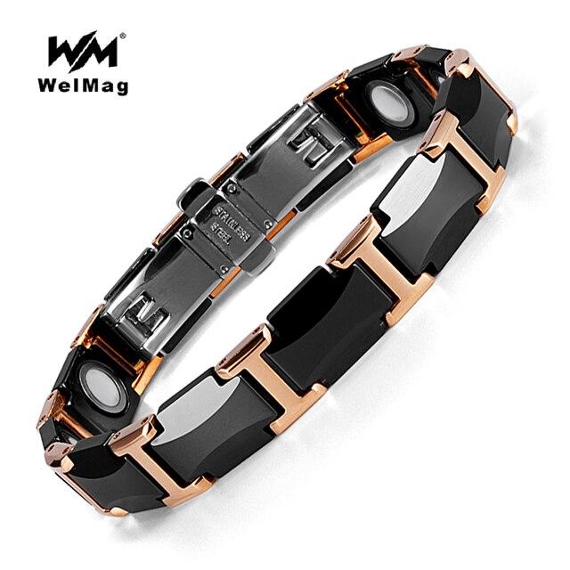 WelMag pulseras magnéticas de cerámica para hombre y mujer, brazaletes de cerámica negra, joyería de lujo, regalos de amistad