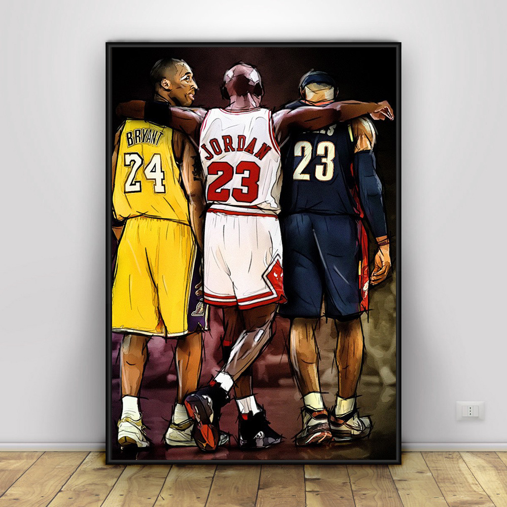 7f7b2410141 Kobe Bryant Michael Jordan LeBron James Basketball Art Canvas Poster Prints  Home Wall Decor Painting