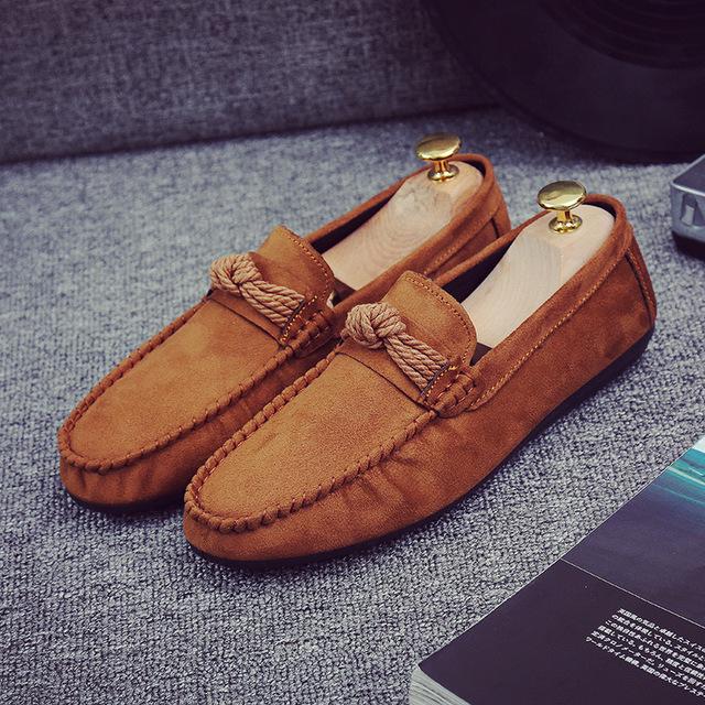 2016 Primavera Otoño Hecha A Mano de Cuero de Gamuza Zapatos Casuales Hombres Nueva Moda Inferior Suave Sólido Slip On Zapatos Mocasines 39-44 Z122