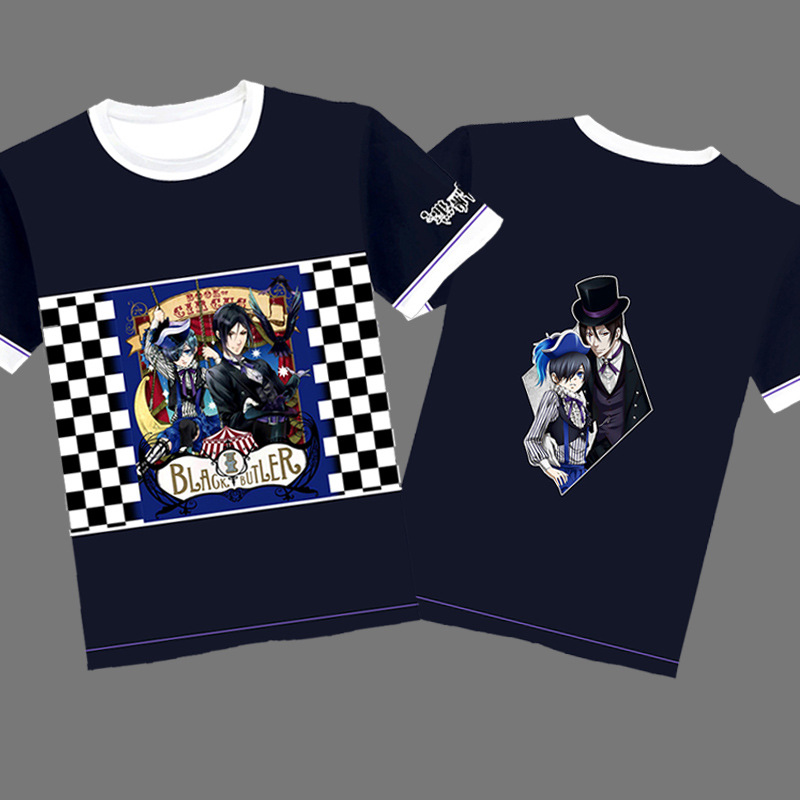 Black Butler Printed T-shirt Cosplay Costume Sebastian Michaelis Ciel Phantomhive Unisex Short Sleeve Tee Shirt Casual Tees