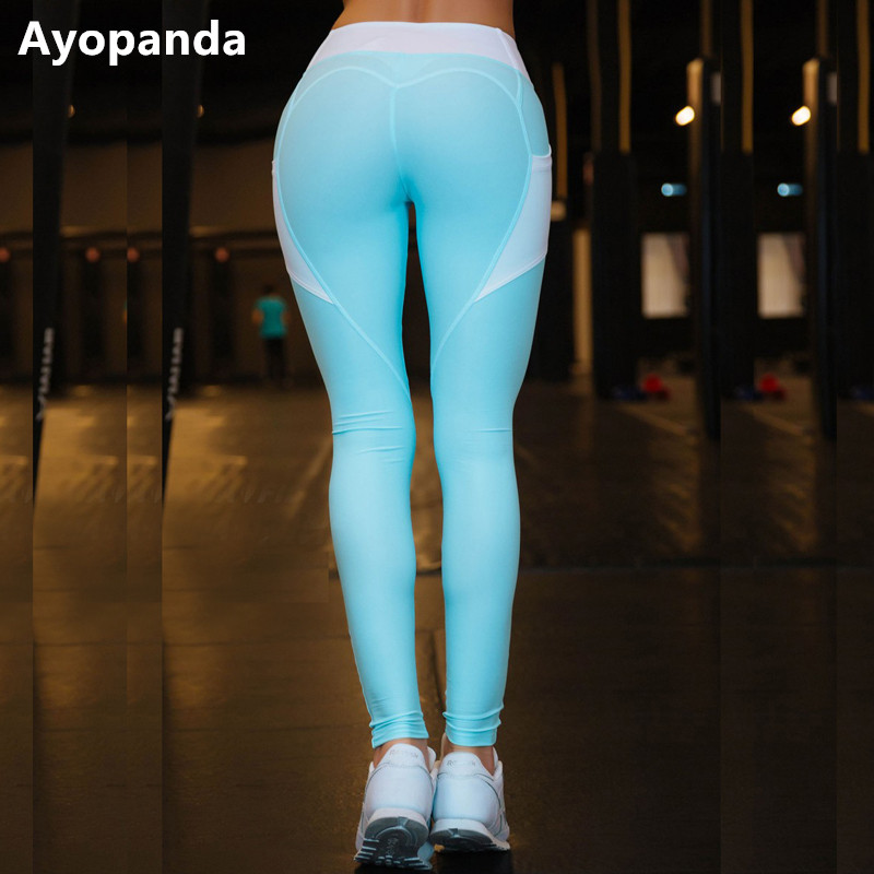 Ayopanda Blue Mesh Pocket Heart Booty Sports Leggings Women Fitness Workout Running Tights Breathable Elastic High Waist Pants