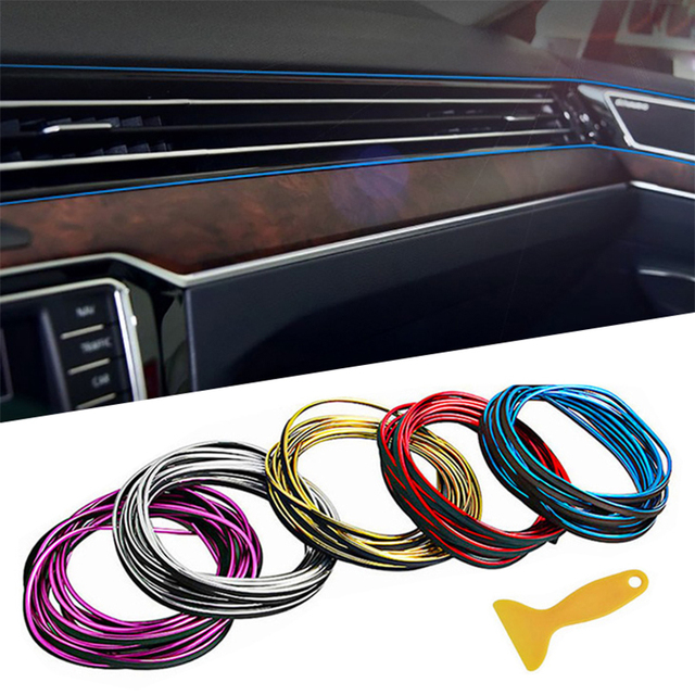 5M/lot Car Accessories Interior Mouldings Parts Auto Tunning Strip Door Edge Trim Car Stickers Car Dashboard Decor Car Styling