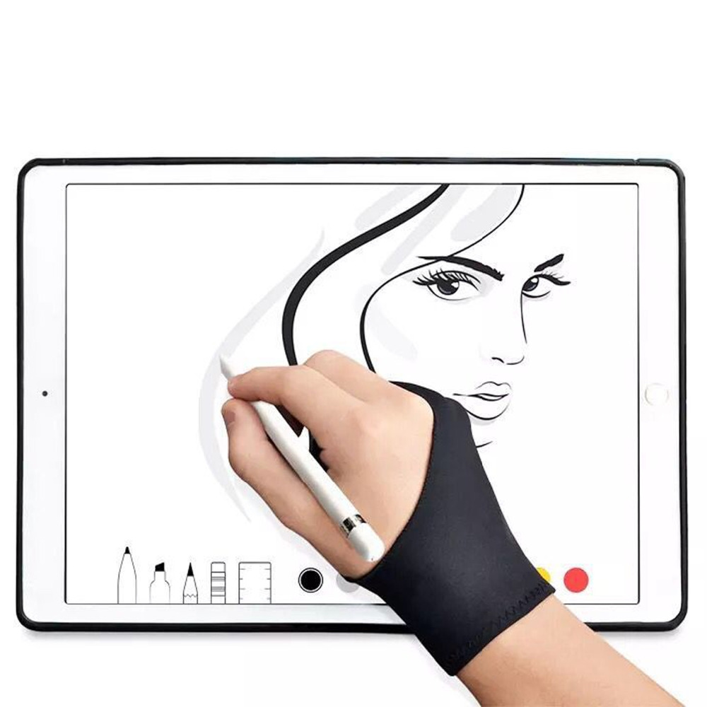 Sarung Tangan Sarung Tangan 2 jari Behogar 4 pcs Artist Menggambar Anti fouling untuk Grafis Gambar Tablet Layar Pena Tangan Kanan Kiri ukuran S M di