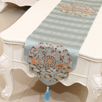 1pcs Free Shipping Thicken European Embroidered High End Extra Long Table Runners Tablecloths Bed Runners 3