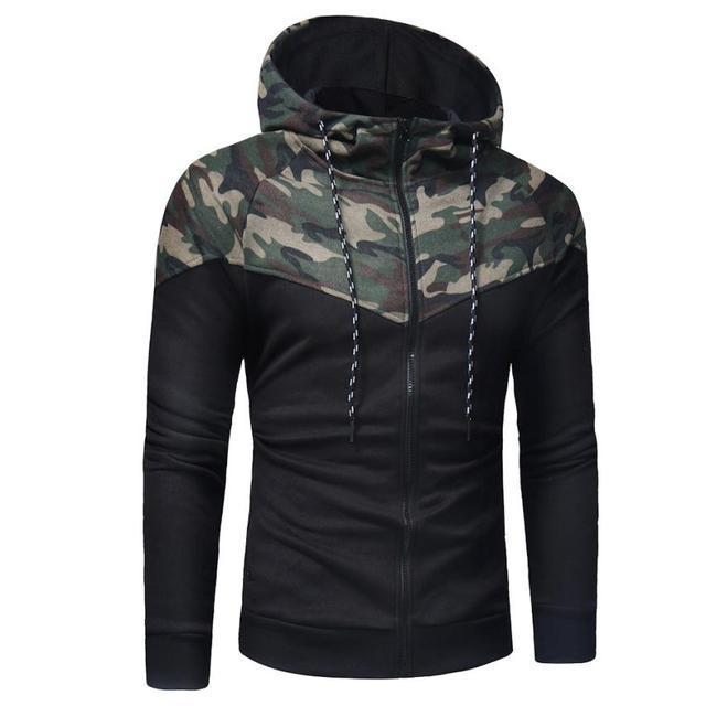 Winter Long Camouflage Sweatshirt Hoodies & Sweatshirts Unisex color: Black|Camouflage