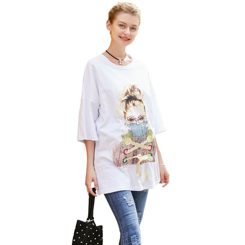 Europe Hot Sale 2018 Summer Pregnant Women Fashion Casual Beauty Girl Printing Cotton T Shirt Tops Maternity Sequins Loose Shirt 2017 new arrival summer t shirt fashion women s ladies lace off shoulder casual tops t shirt