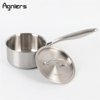 Agniers 16cm Multi Ply Stainless Steel With Lid Single Handle Milk Sauce Pan 1 5 Quart