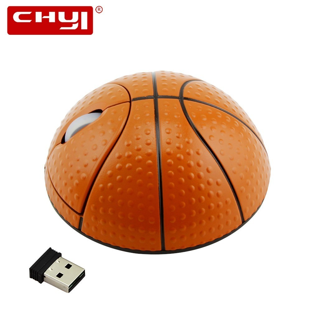 CHYI Wireless Basketball Mouse Ergonomic 2.4Ghz 1200 DPI 3D Optical Sports Ball Mice With Wrist Rest Mouse Pad Kit For PC Laptop