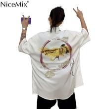 NiceMix 2019 Summer New Crane Print Turn Down Neck Short-Sleeved Shirt Loose Hip-Hop Street Harajuku Fashion Blouse цены