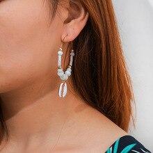 Bohemian Natural Shell Earring For Women Imitation Pearl Statement Geometric Earrings Pendientes Mujer Moda 2019