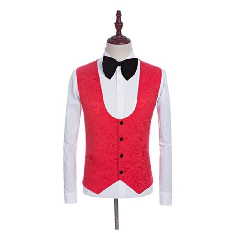 2018 Marié Mariage Hommes Made Custom Mode 2 1 3 Robe Entreprise Costumes Rouge Nouveau vestes Gilet Pantalon Slim Smoking De Blazer 8IZMEP