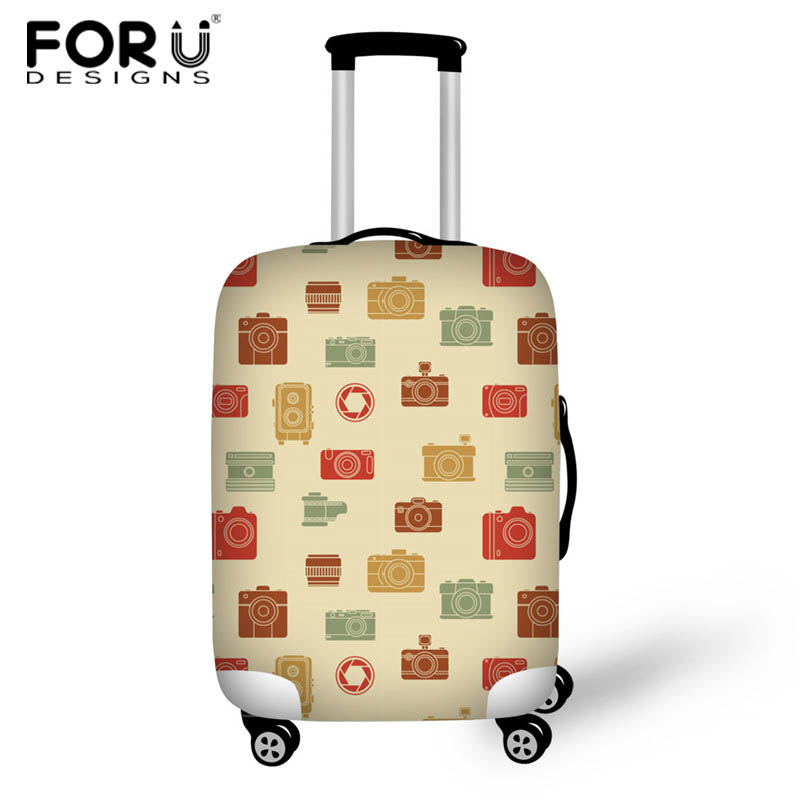 FORUDESIGNS Travel Luggage Cover 3D Camera Style Trolley Suitcase Cover Elasticity Case Protect Dust Case Travel Accessories ...