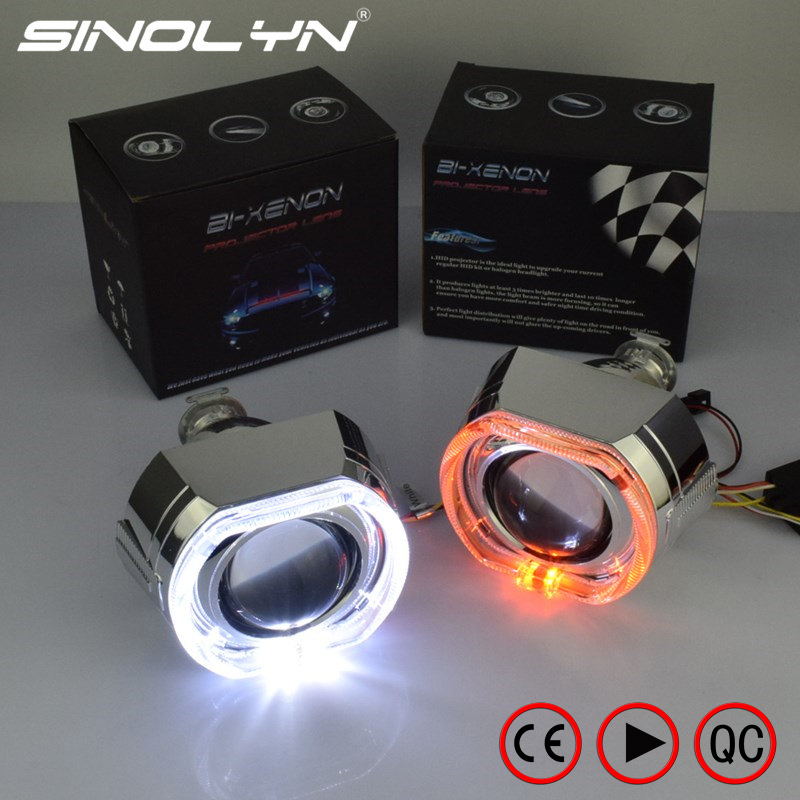 SINOLYN HID Bi xenon Lens Projector Headlight Kit With Square LED Angel Eyes DRL With Turn Signal Lamps Car Tuning DIY H4 H7 H1 2 5inch bixenon projector lens with drl day running angel eyes angel eyes hid xenon kit h1 h4 h7 hid projector lens headlight