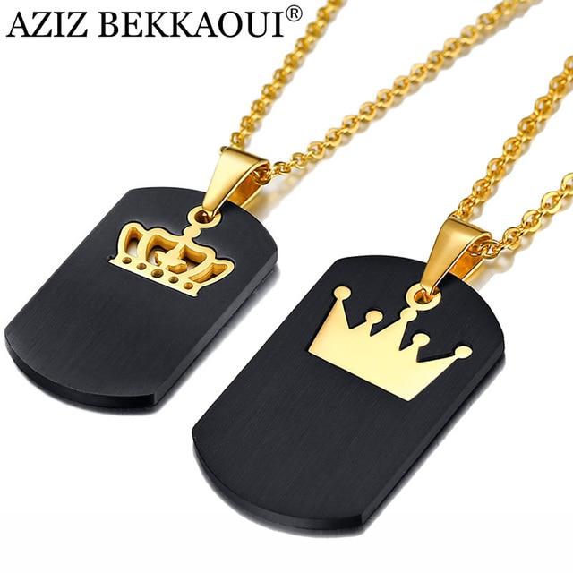AZIZ BEKKAOUI Logotipo Personalizado Crown Casal de Aço Inoxidável Colares Gravura Tag Pingente de Colar de Presente de Luxo Dropshipping