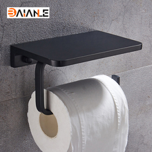 Free Shipping Space aluminum Black Bathroom Toilet Paper Holder Wall Mounted