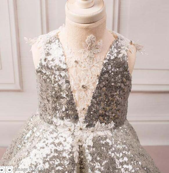 6d67857a Sparkly silver bling sequins ball gown baby 1st birthday party dresses tea  length laces flower girl dress toddler pageant gown - aliexpress.com -  imall.com