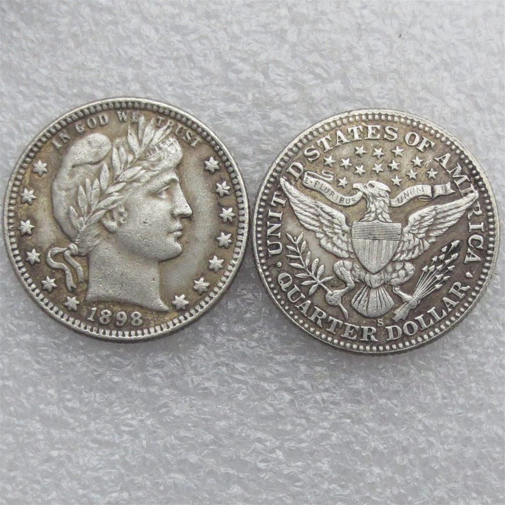 Barber Quarter Dollars Date 1898 1898O 1898S Different signs Material Silver Plated or 90% Silve Copy Coin Free Shipping