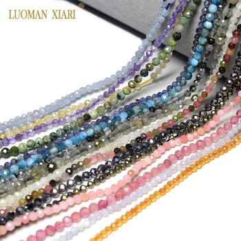 1f410db4eee1 Venta al por mayor anillo 2mm 3mm cuentas de piedra Natural de 18 quilates  cristal gema perlas para joyería haciendo abalorios DIY pulsera collar