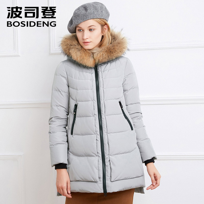 BOSIDENG women winter thick down jacket long down coat warm parka big real raccoon fur hood pockets high quality B1601232