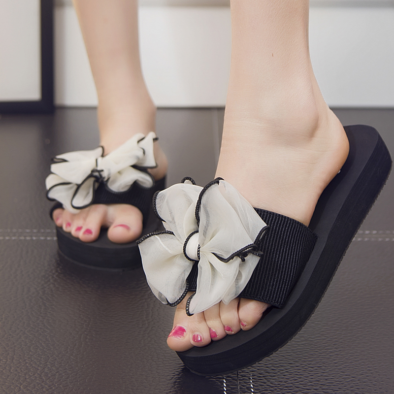 2017 Summer lady 39 s Bowtie Flats Shoes Slippers Handmade Beach Sandals Casual Fashion Female Slides Women in Slippers from Shoes