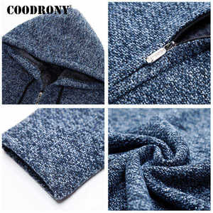 Image 5 - COODRONY Sweater Men Clothes 2019 Winter Thick Warm Long Cardigan Men With Hood Sweater Coat With Cotton Liner Zipper Coats H004