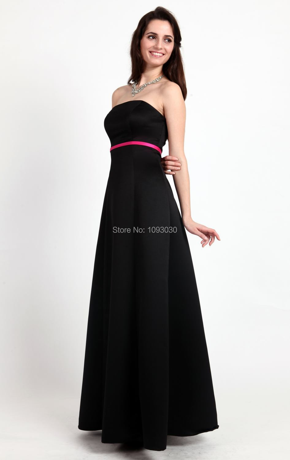 Black strapless long bridesmaid dress with pink belt 2017 a line black strapless long bridesmaid dress with pink belt 2015 a line dresses vestidos de madrinha fast shipping cheap bd089 ombrellifo Image collections