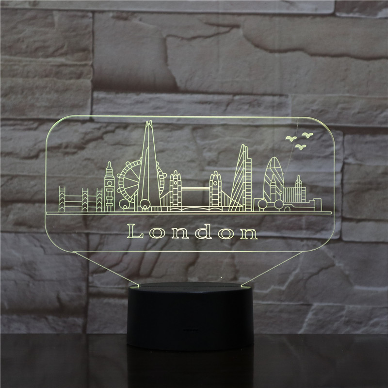Usb 3d Led Night Light City London Atmosphere Lamp Decoration RGB Kids Baby Gift Famous Buildings Table Lamp Bedside neon