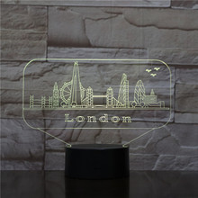 Usb 3d Led Night Light City London Atmosphere Lamp Decoration RGB Kids Baby Gift Famous Buildings Table Lamp Bedside neon india taj mahal usb 3d led night light veilleuse lamp decoration rgb kids baby gift famous buildings table lamp bedside neon